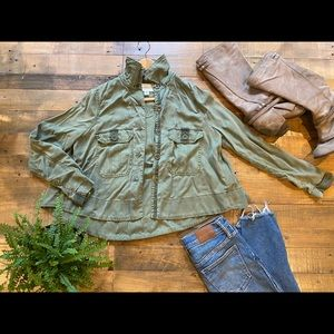 Army green jacket from Anthropologie, swing style